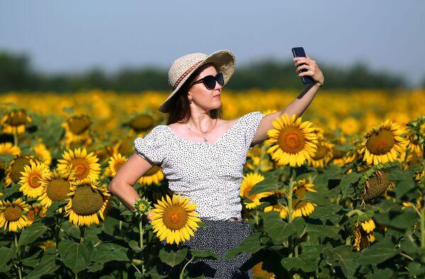 Девушка фотографируется на поле с подсолнухами. - Sputnik Беларусь