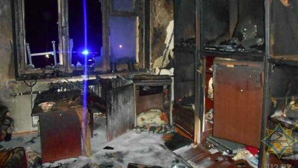 Сгоревшая квартира, фото МЧС - Sputnik Беларусь