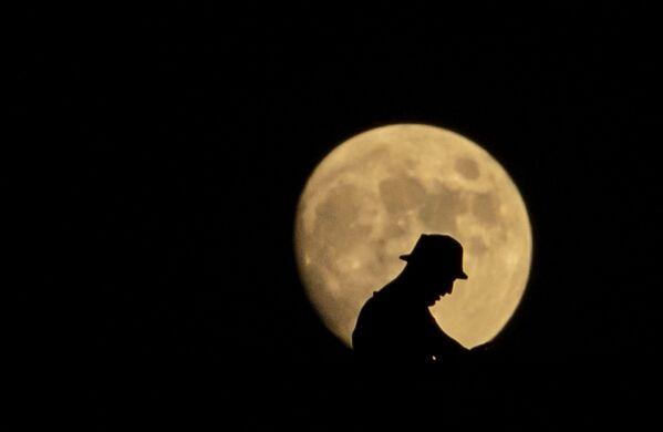 Силуэт мужчины на фоне луны в Ираке  - Sputnik Беларусь