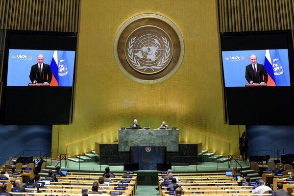 Выступление президента РФ В. Путина с видеообращением на 75-й сессии Генассамблеи ООН - Sputnik Беларусь