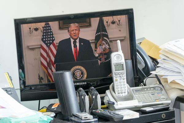 Президент США Дональд Трамп во время выступления на виртуальной сессии ООН - Sputnik Беларусь