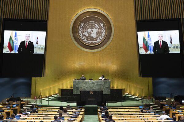 Президент Литвы Гитанас Науседа на Генассамбле ООН - Sputnik Беларусь