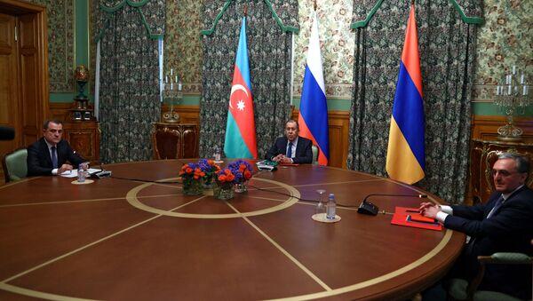 Трехсторонние переговоры министров иностранных дел Азербайджана, Армении и России - Sputnik Беларусь