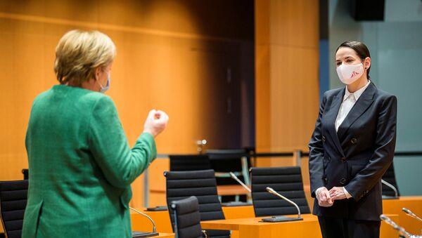 Святлана Ціханоўская на сустрэчы з канцлерам Германіі Ангелай Меркель - Sputnik Беларусь