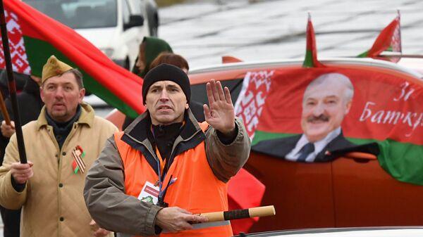 Автопробег в поддержку президента Лукашенко в Минске - Sputnik Беларусь