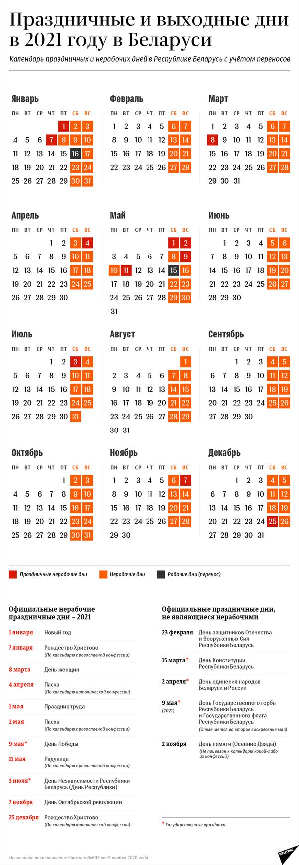 Календарь выходных и праздничных дней – 2021 в Беларуси с учетом переносов - Sputnik Беларусь