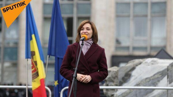 Майя Санду на митинге в Кишиневе - Sputnik Беларусь