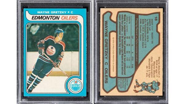 Редкая хоккейная карточка с изображением Гретцки продана за огромную сумму  - Sputnik Беларусь