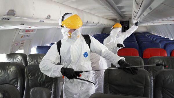 Дэзінфекцыя самалётаў у аэрапорце Дамадзедава - Sputnik Беларусь