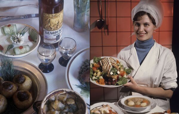 Беловежская особая в белорусском кафе. Блюда белорусской кухни: картофель с мясом в горшочке, открытые клецки с мясом, курица с овощами, белорусская уха - самая скромная кухня среди всех республик бывшего СССР. - Sputnik Беларусь