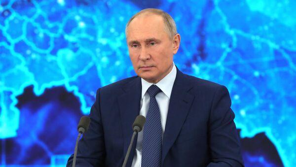 Президент РФ Владимир Путин на большой ежегодной пресс-конференции  - Sputnik Беларусь