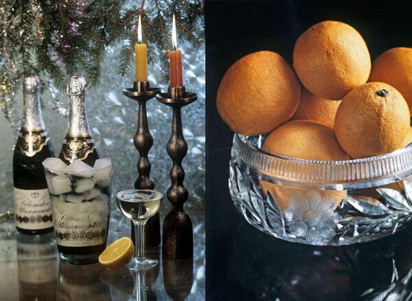 Встреча Нового года в 1970-е. Бокалы с шампанским и апельсины. - Sputnik Беларусь
