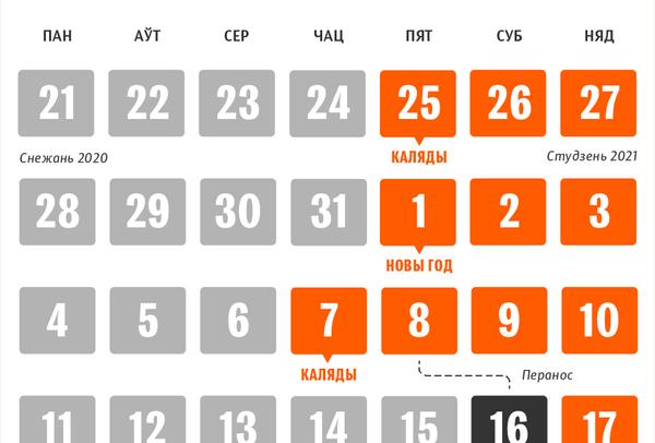 Каляндар непрацоўных дзён у Беларусі на Каляды і Новы год 2020/21 - Sputnik Беларусь