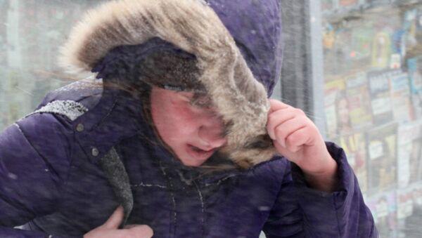 Прохожий во время снегопада и ветра - Sputnik Беларусь