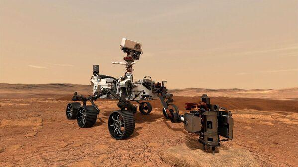 Марсоход Perseverance (Настойчивость) использует дрель для сбора образца горной породы на Марсе - Sputnik Беларусь