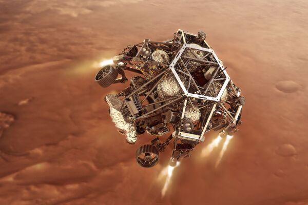 Марсоход Perseverance запускает двигатели ступени спуска по мере приближения к поверхности Марса - Sputnik Беларусь