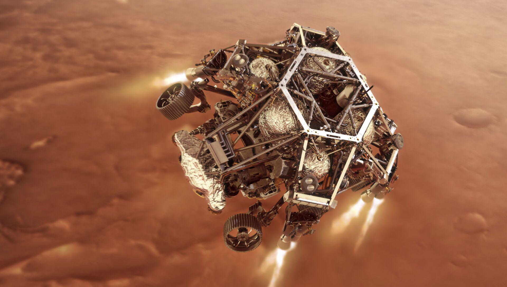 Марсоход Perseverance запускает двигатели ступени спуска по мере приближения к поверхности Марса - Sputnik Беларусь, 1920, 24.02.2021