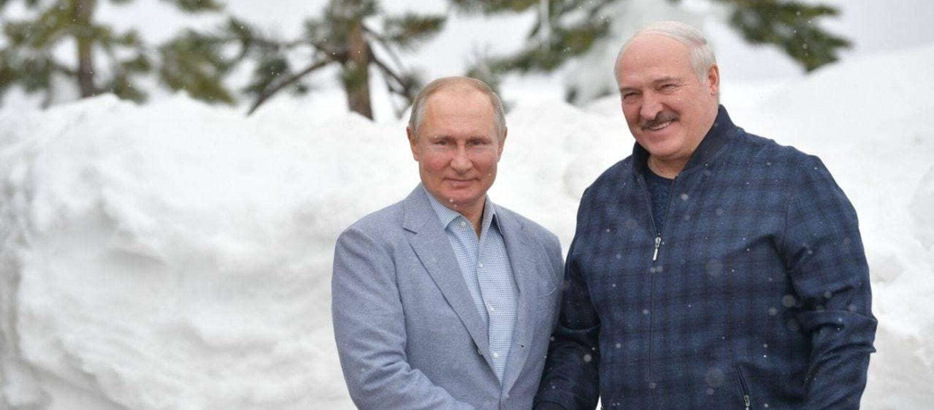Аляксандр Лукашэнка і Уладзімір Пуцін у Сочы - Sputnik Беларусь, 1920, 22.02.2021