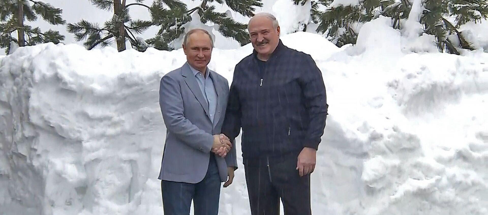 Лукашенко и Путин в Сочи без галстуков - видео - Sputnik Беларусь, 1920, 23.02.2021