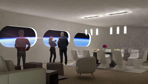Гостиная в номере Luxury Villa в космическом отеле Voyager Station - Sputnik Беларусь