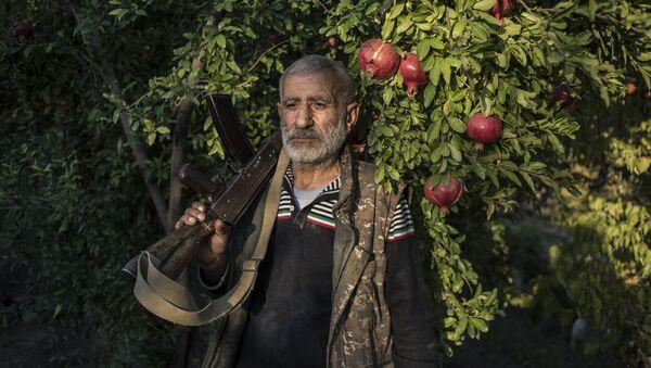 Местный житель Анушаван стоит в гранатовом саду во дворе своего дома - Sputnik Беларусь
