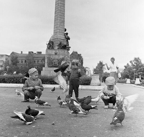 Дзеці кормяць галубоў на Камсамольскай плошчы Хабараўска, 1966 год. - Sputnik Беларусь