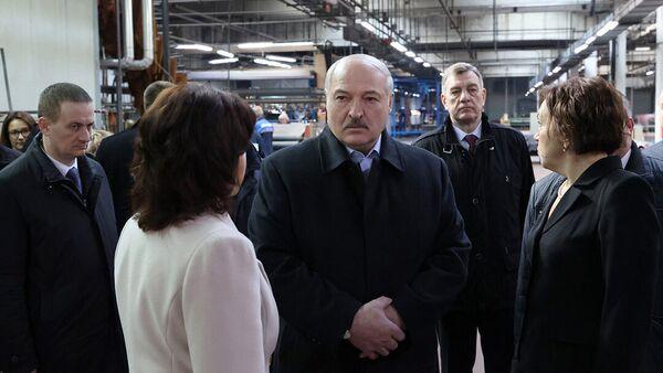 Президент Беларуси Александр Лукашенко посещает Минское производственное кожевенное объединение в Гатово  - Sputnik Беларусь