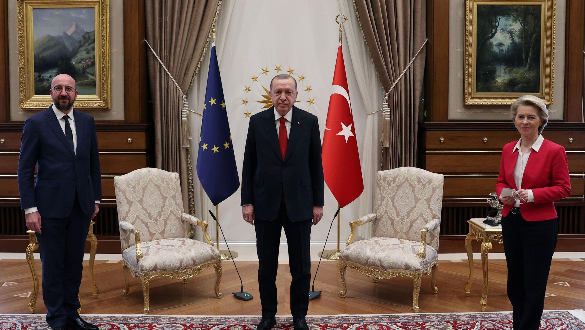 Встреча в Анкаре президента Турции Эрдогана, председателя ЕС Мишеля и главы ЕК фон дер Ляйен - Sputnik Беларусь, 1920, 08.04.2021
