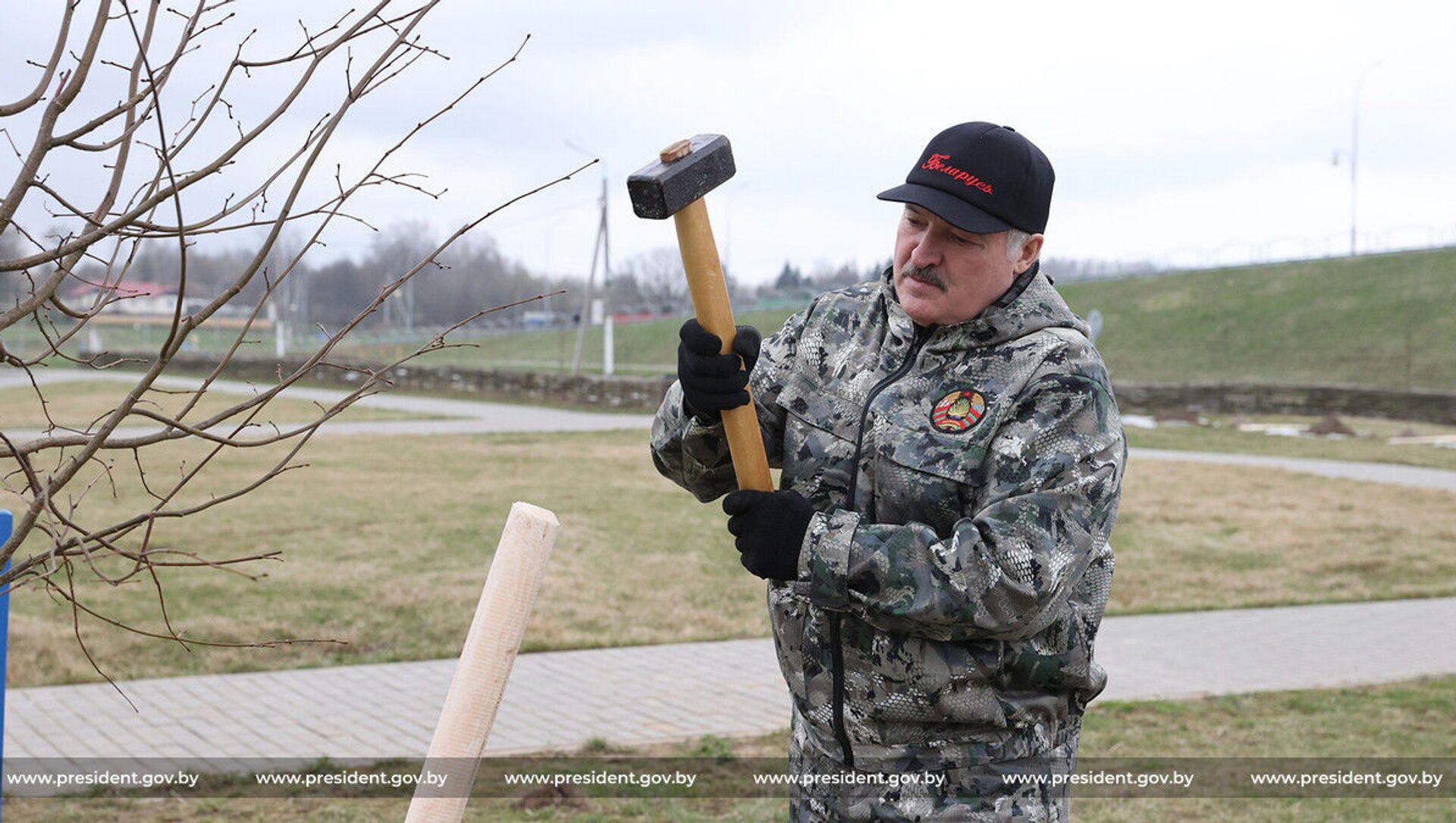 Президент Беларуси Александр Лукашенко на субботнике - Sputnik Беларусь, 1920, 17.04.2021