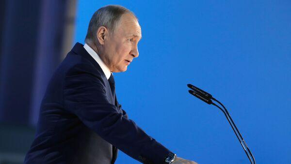 Прэзідэнт Расіі Уладзімір Пуцін падчас выступлення са штогадовым пасланнем Федэральнаму Сходу - Sputnik Беларусь