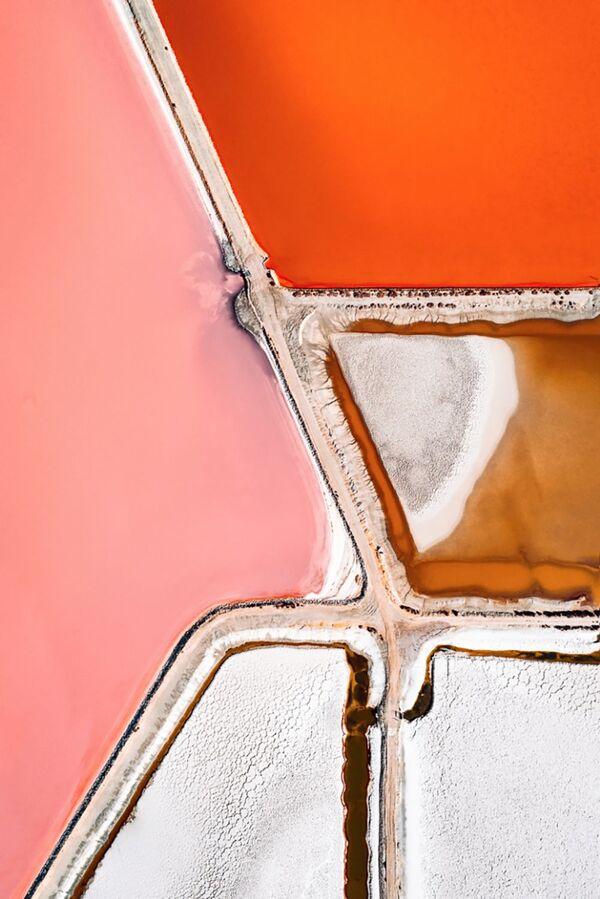 Добыча соли. Микроорганизмы меняют свой оттенок по мере увеличения солености пруда. Цвета могут варьироваться от более светлых оттенков зеленого до яркого красного. - Sputnik Беларусь