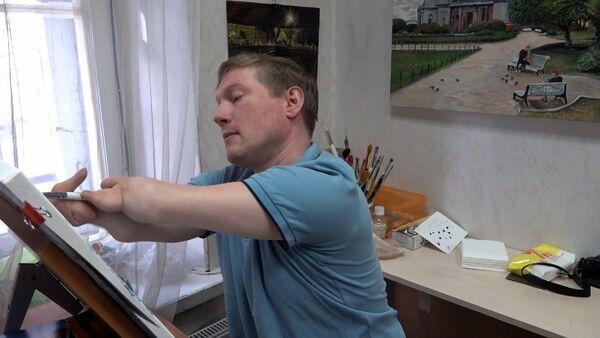 Художник без кистей рук выставляет работы в галереях Петербурга - видео - Sputnik Беларусь
