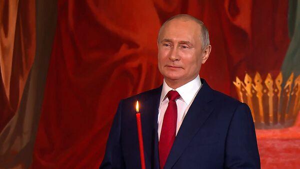 В храме Христа Спасителя прошла пасхальная служба - видео - Sputnik Беларусь