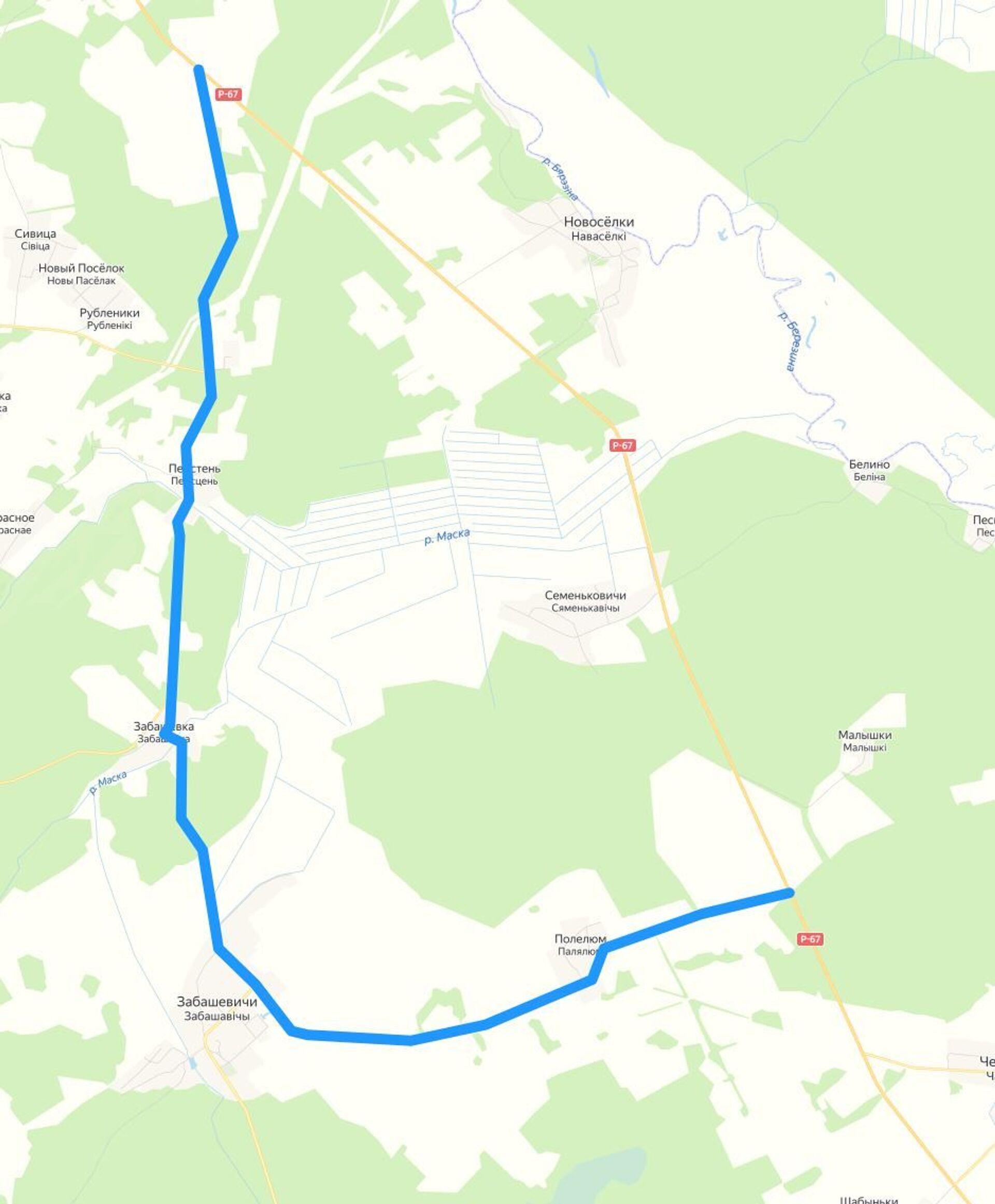 После обрушения моста на трассе Р-67 организован объезд через близлежащие населенные пункты Забашевка, Забашевичи, Полелюм - Sputnik Беларусь, 1920, 29.06.2021