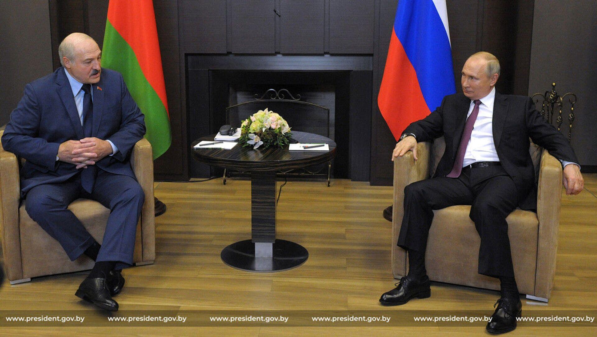 Президенты Беларуси и России Александр Лукашенко и Владимир Путин - Sputnik Беларусь, 1920, 29.05.2021