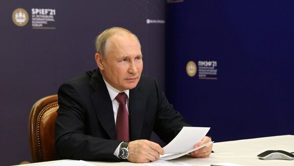 Выступленне Уладзіміра Пуціна на пленарным пасяджэнні ПМЭФ-2021 - відэа - Sputnik Беларусь