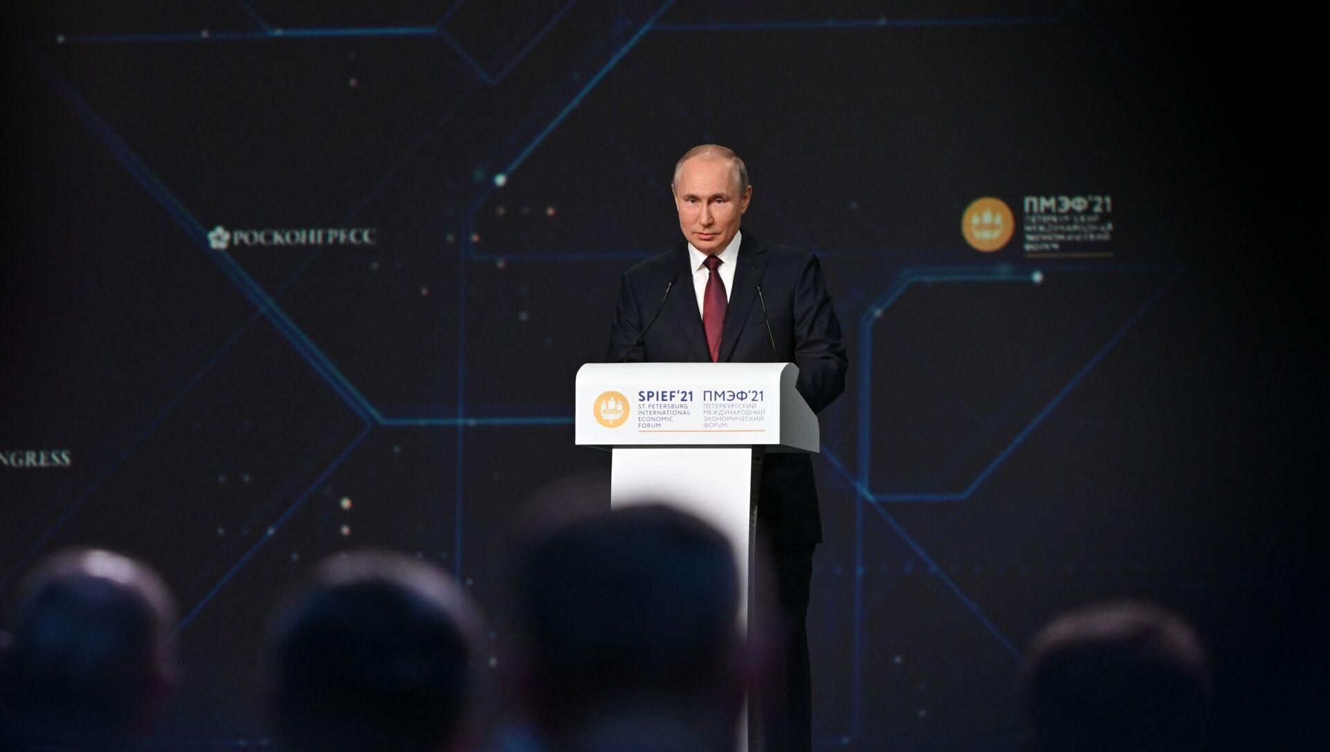 Президент РФ В. Путин принял участие в мероприятиях Петербургского международного экономического форума - Sputnik Беларусь, 1920, 04.06.2021