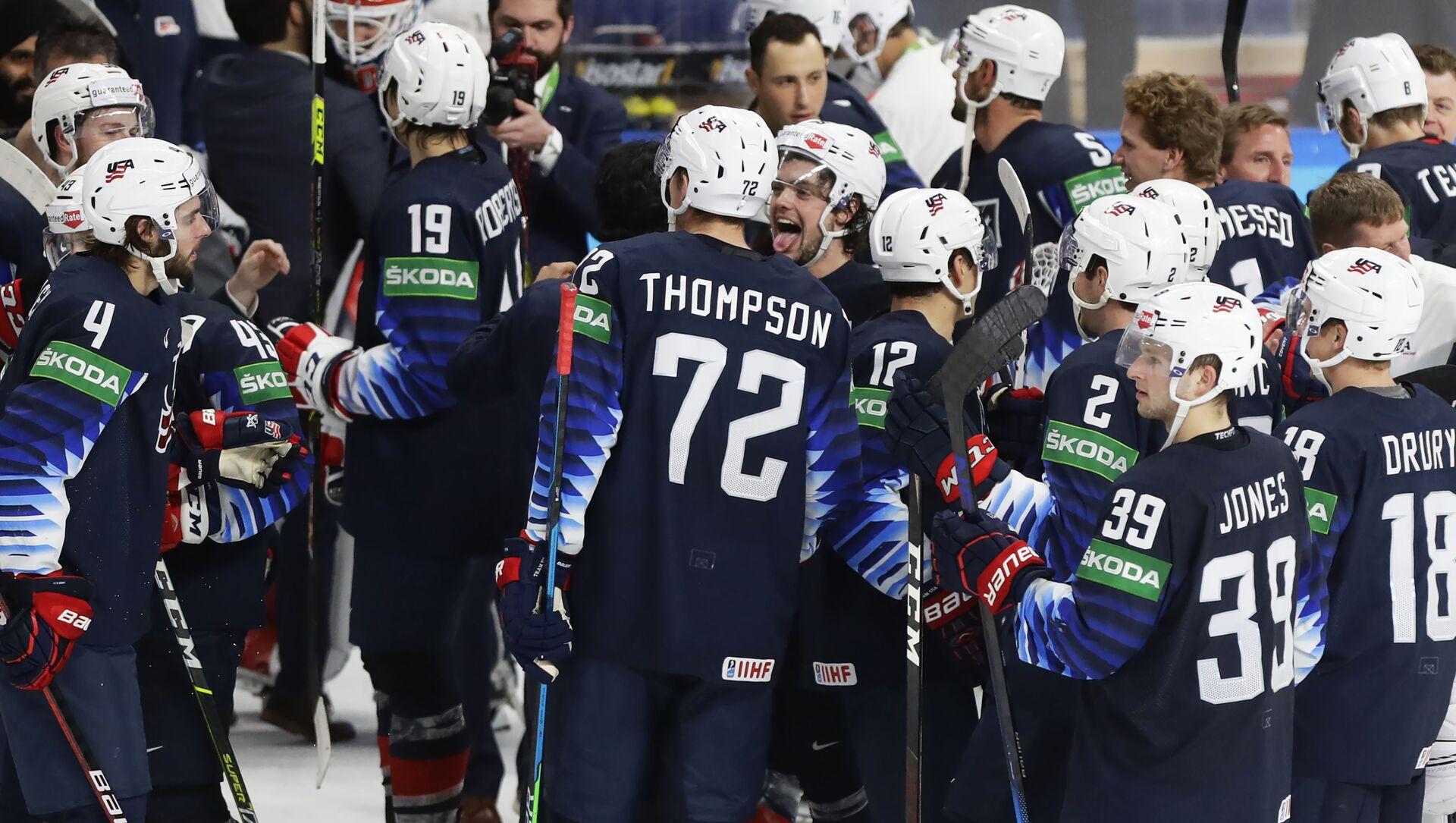 Игроки сборной США празднуют победу над сборной Германии в матче за третье место ЧМ в Риге - Sputnik Беларусь, 1920, 06.06.2021