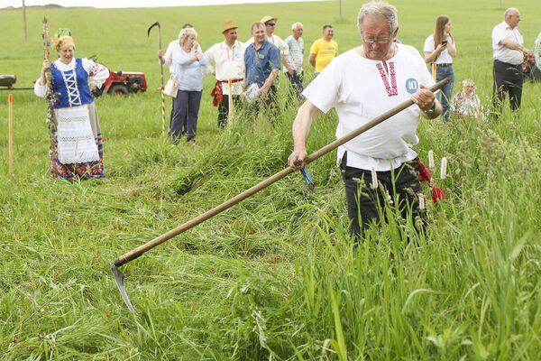 Самое главное – показать свои умения на лугу. Каждому из участников необходимо было скосить траву на площади около одной сотки. - Sputnik Беларусь