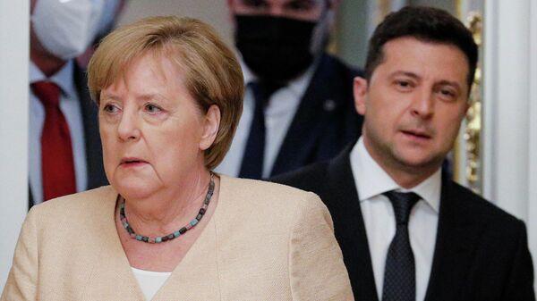 Уладзімір Зяленскі на перамовах з канцлерам ФРГ Ангелай Меркель - Sputnik Беларусь