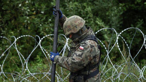 Польша строит забор из колючей проволоки на границе в Беларусью - Sputnik Беларусь