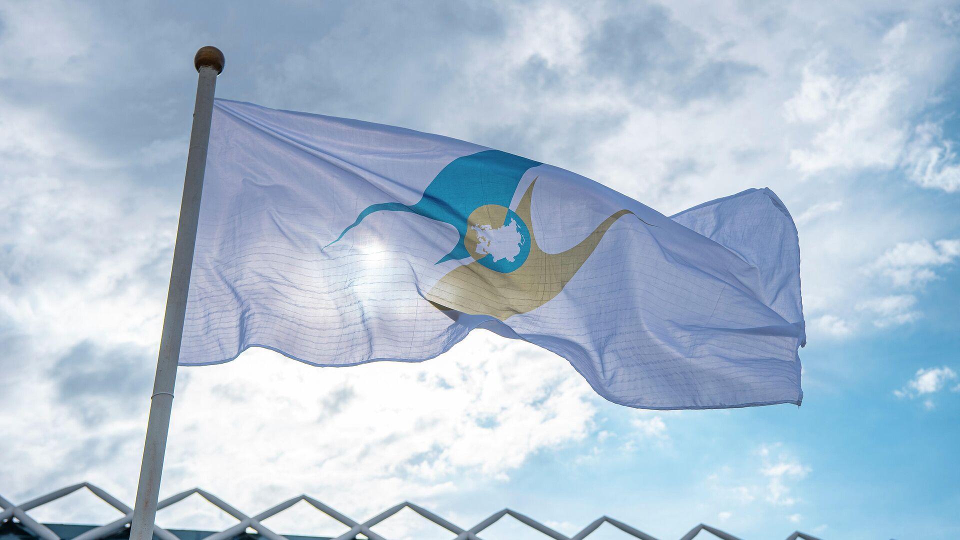 Флаг с символикой Евразийского экономического союза (ЕАЭС) - Sputnik Беларусь, 1920, 20.09.2021