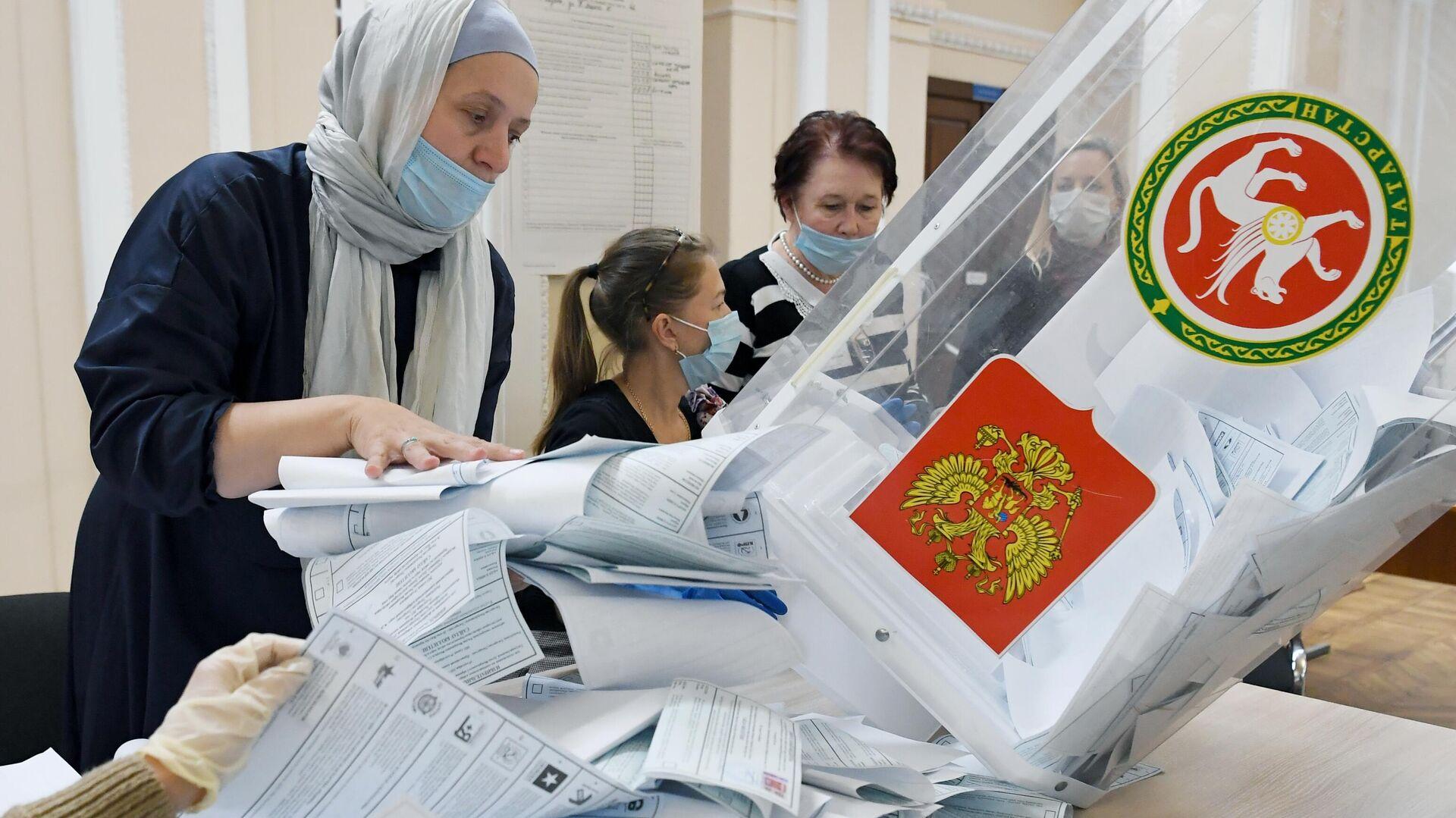 Подсчет голосов на выборах в единый день голосования - Sputnik Беларусь, 1920, 20.09.2021