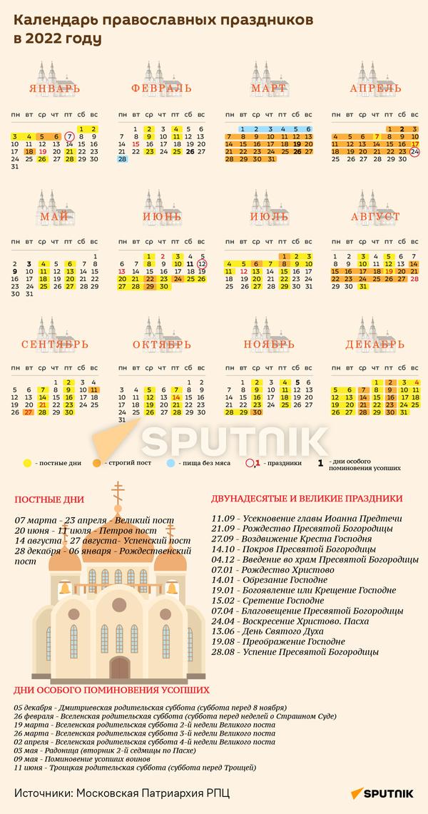 Календарь православных праздников на 2022 год - Sputnik Беларусь