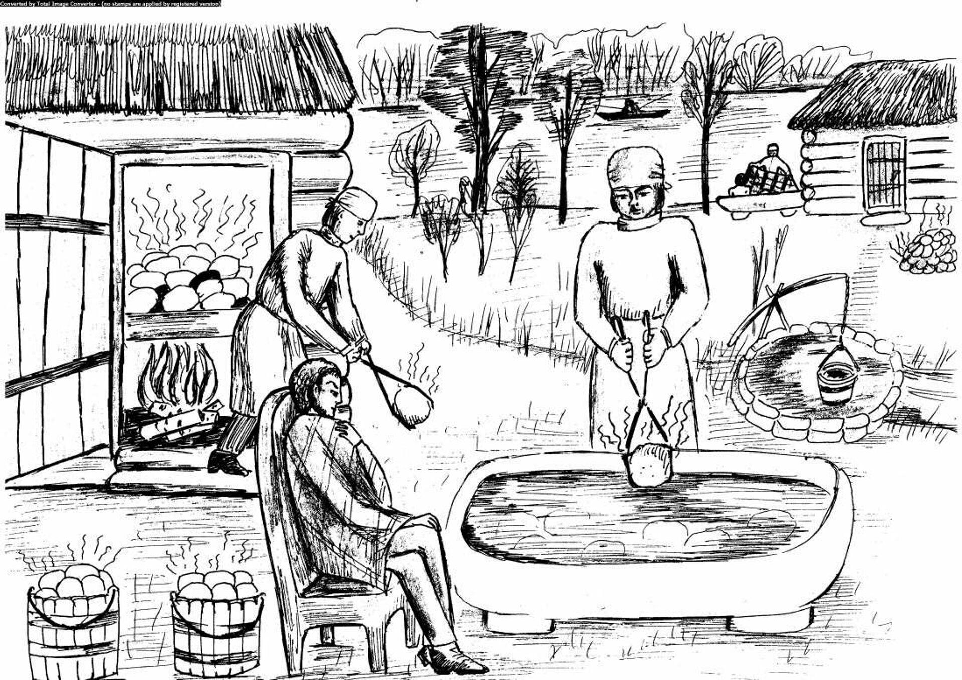 Иллюстрация того, как проходили водолечебные процедуры в XIX веке - Sputnik Беларусь, 1920, 24.09.2021