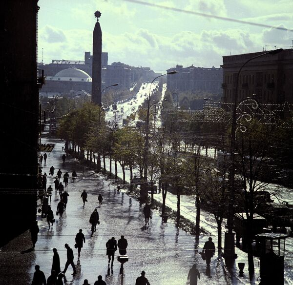 Ленінскі праспект (цяпер Праспект Незалежнасці) ў Мінску, 1971-ы. - Sputnik Беларусь