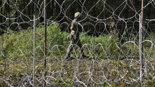 Польский пограничник на белорусско-польской границе - Sputnik Беларусь