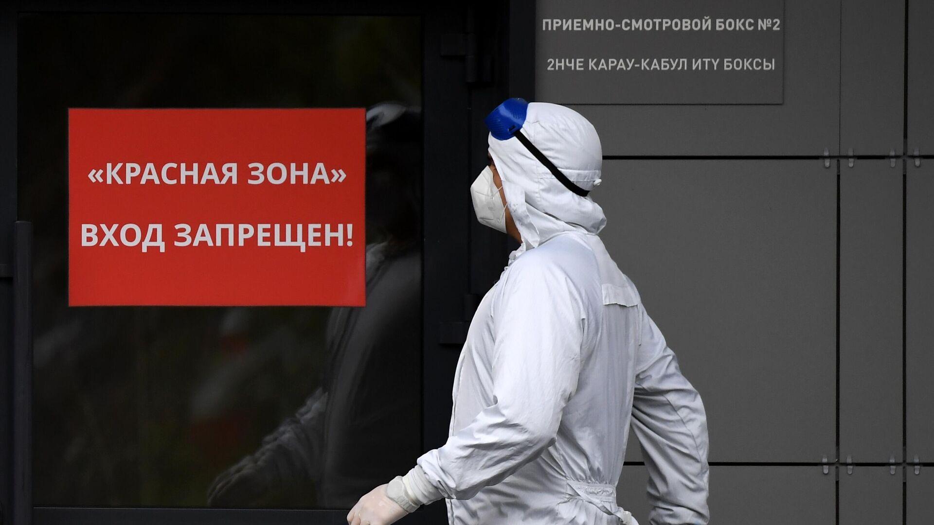 Медицинский сотрудник у входа в красную зону в больнице для больных коронавирусом - Sputnik Беларусь, 1920, 09.10.2021