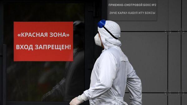 Медицинский сотрудник у входа в красную зону в больнице для больных коронавирусом - Sputnik Беларусь