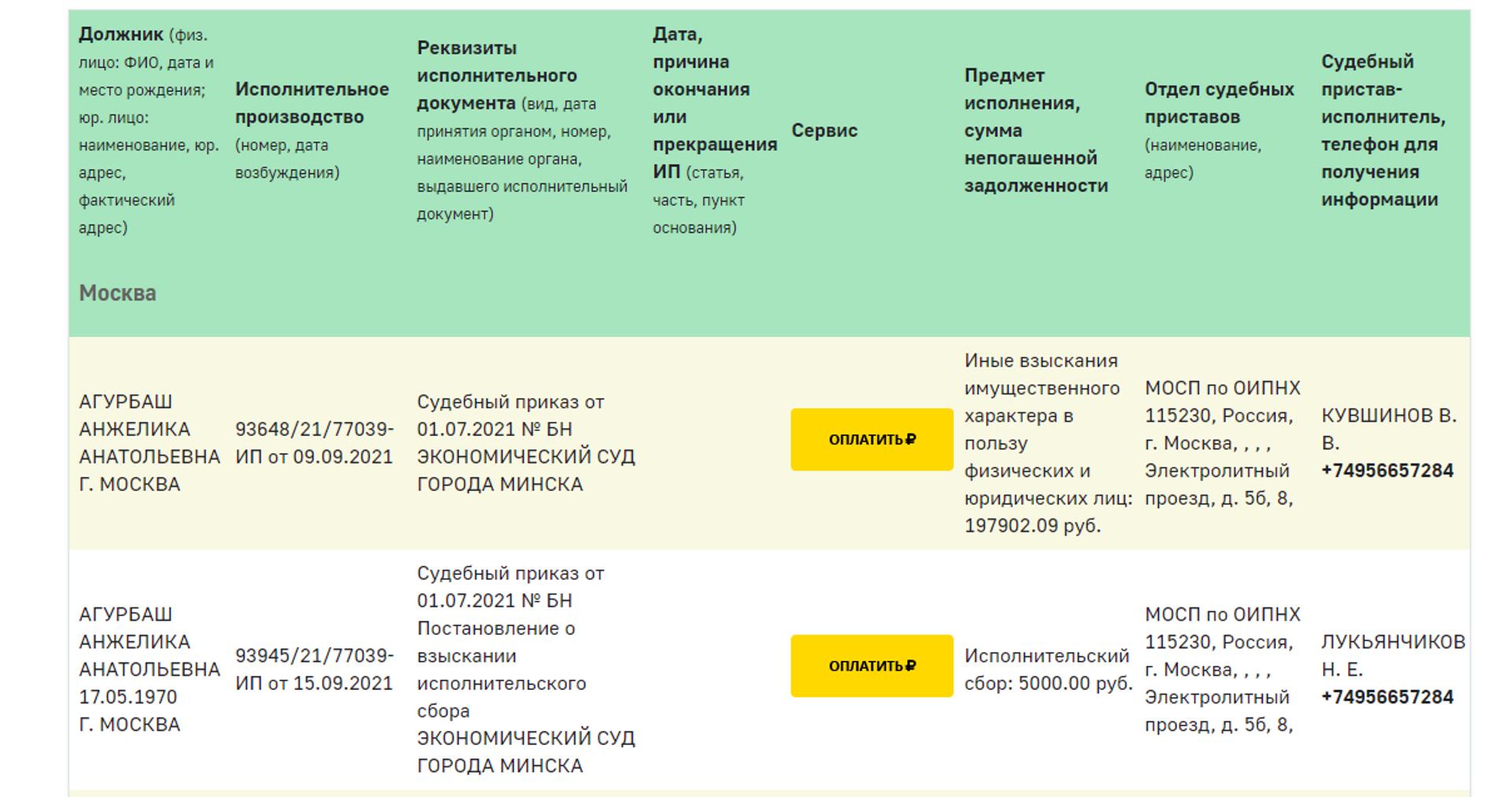 Федеральная служба судебных приставов России опубликовала на своем сайте суммы, которые должна выплатить певица Анжелика Агурбаш - Sputnik Беларусь, 1920, 13.10.2021